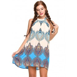 Neck Boho Print Short Dress...